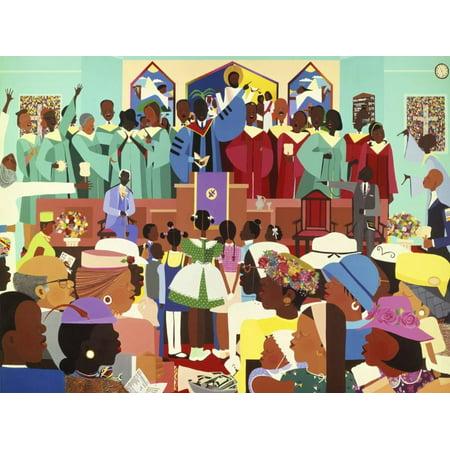 Jesus Loves Me African American Culture Choir Singing in Church Artwork Print Wall Art By Varnette Honeywood African American Framed Art