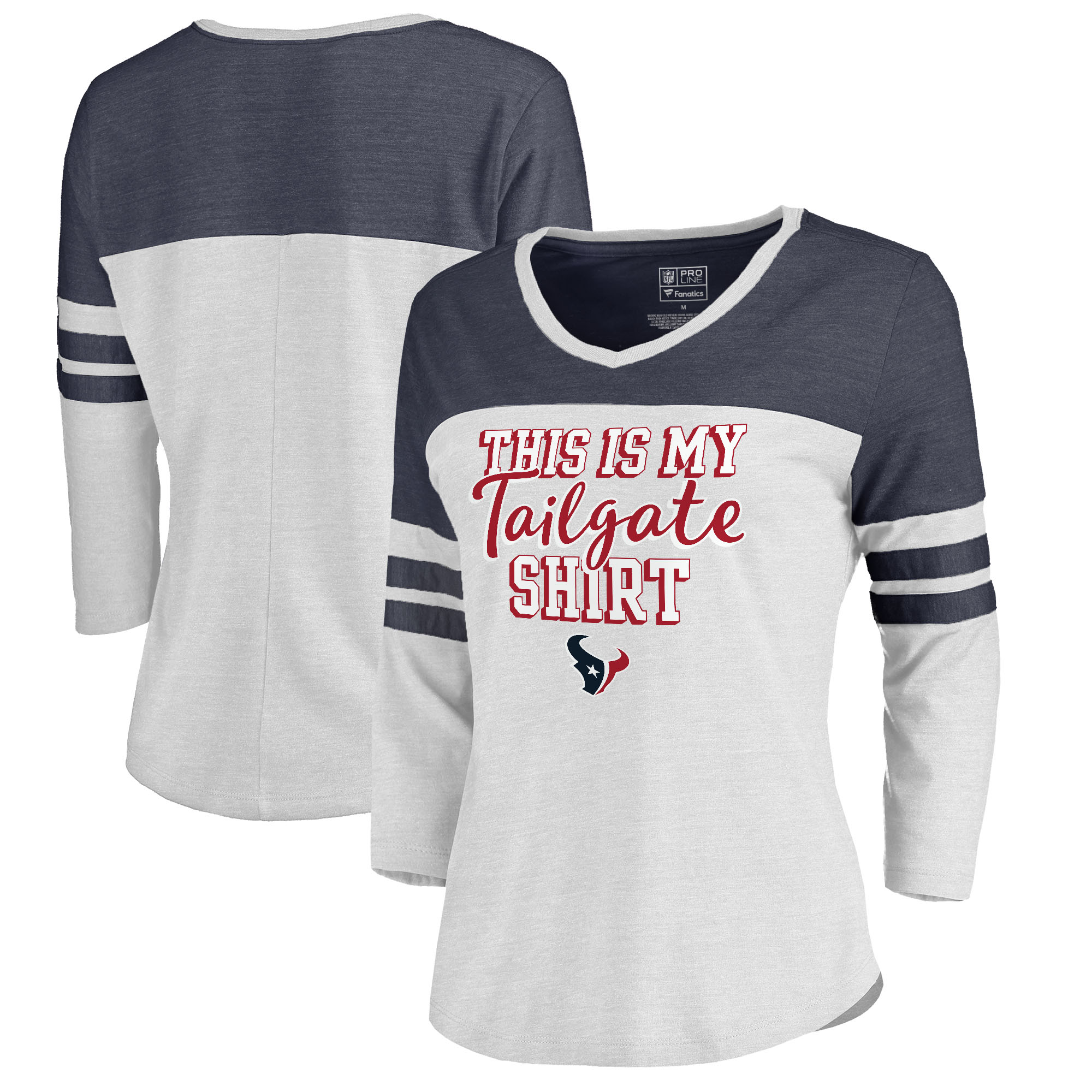 Houston Texans NFL Pro Line by Fanatics Branded Women's Plus Size Air Color Block Tri-Blend 3/4-Sleeve T-Shirt - White