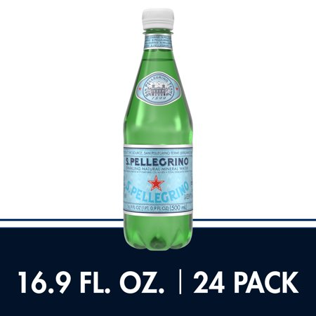 S.Pellegrino Sparkling Natural Mineral Water, 16.9 fl oz. Plastic Bottles (24 Count) - Most Bottled Water
