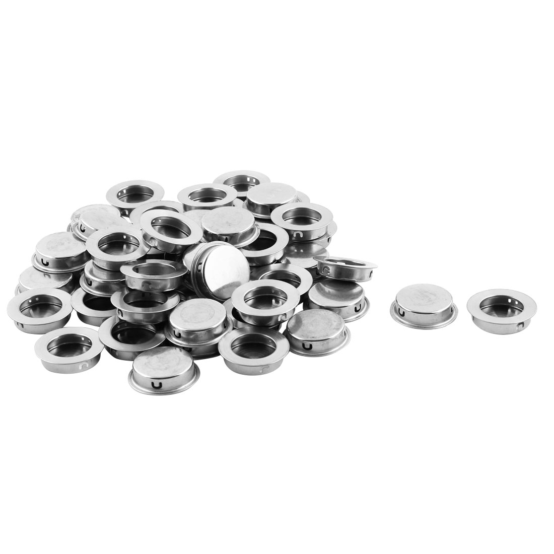 Drawer Closet Stainless Steel Embedded Round Flush Pull Handles 35mm Dia 10 PCS