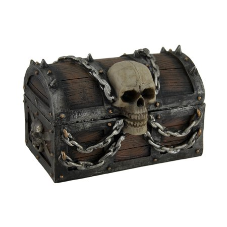 Treasure Chest of Terror Spiked Skull & Chains Pirate's Chest Trinket Box 6 In. (Treasure Chest Gift Box)