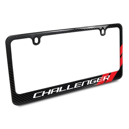 Dodge Challenger Red Stripe Black Carbon Fiber License Plate Frame ...