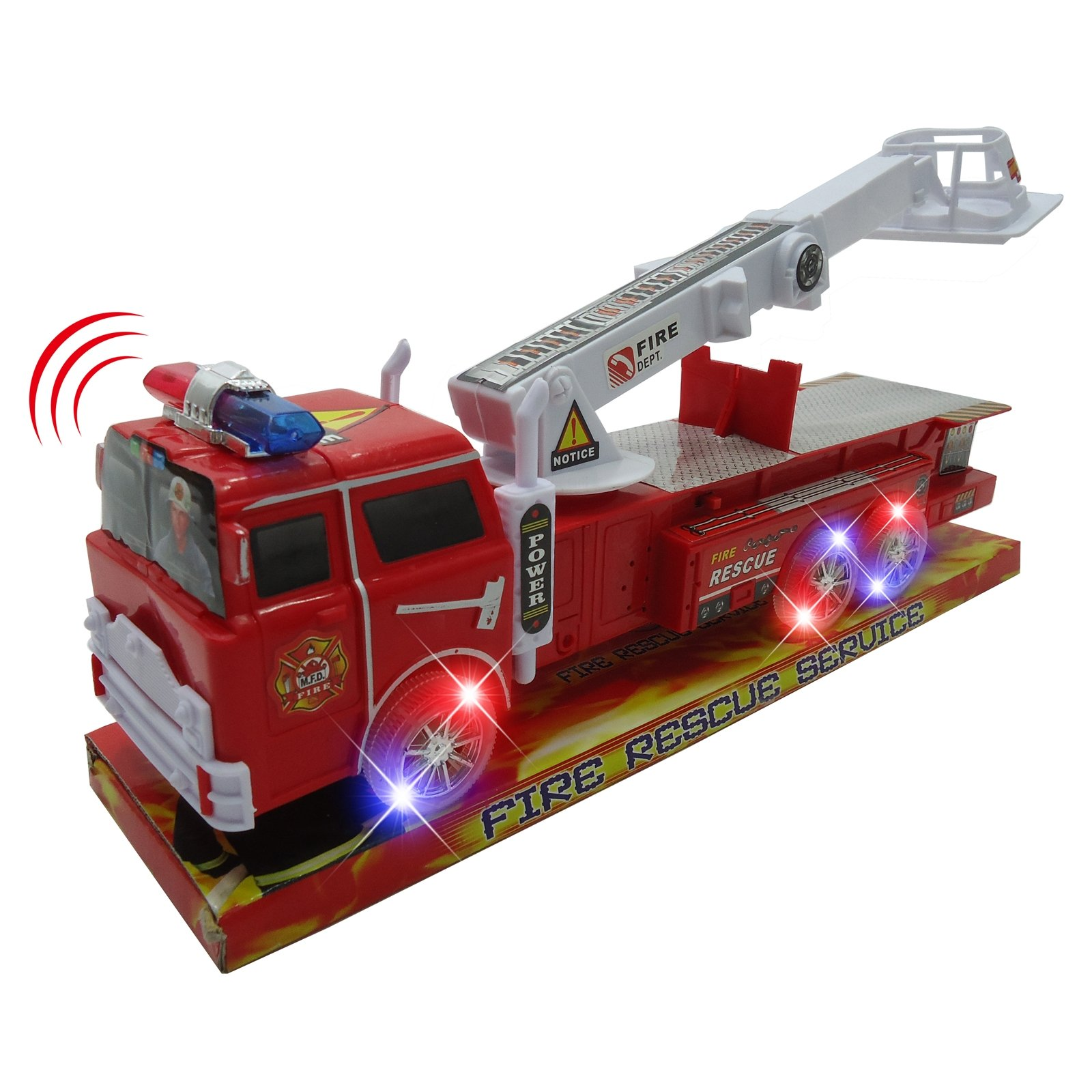 Light Up Fire Engine Rescue Truck with Firefighter Utility Bucket by KidFun Products