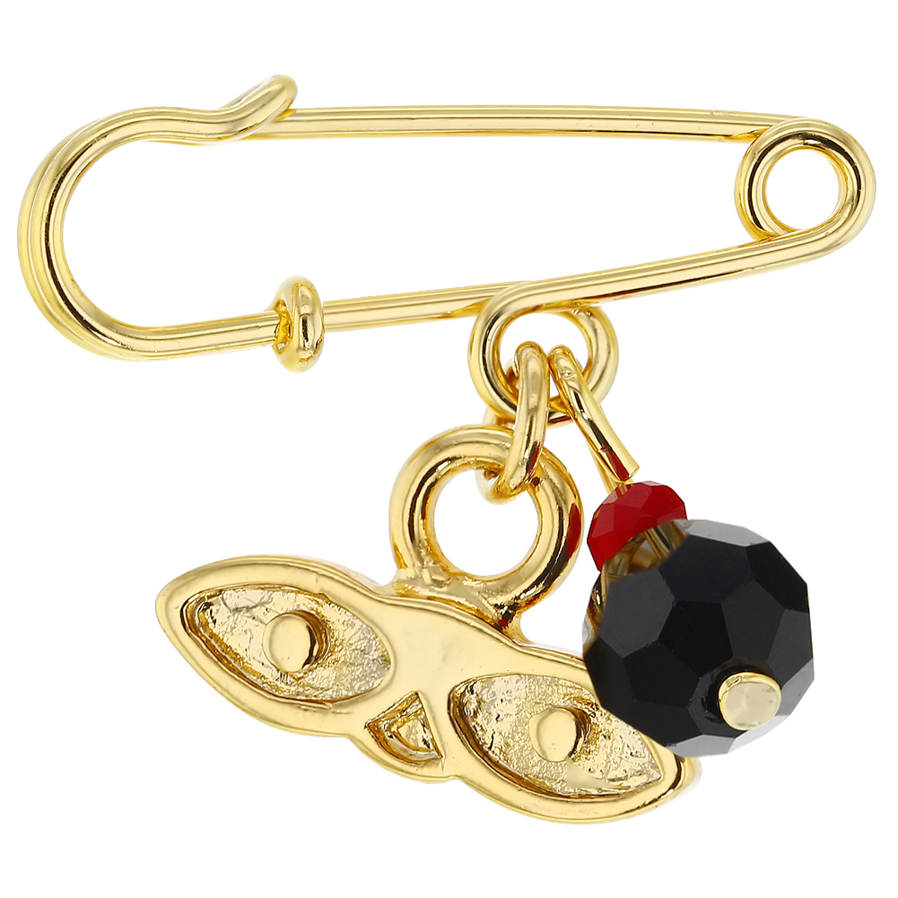 14k Gold Plated St Lucy Simulated Azabache Protection Baby Pin Brooch by In Season Jewelry