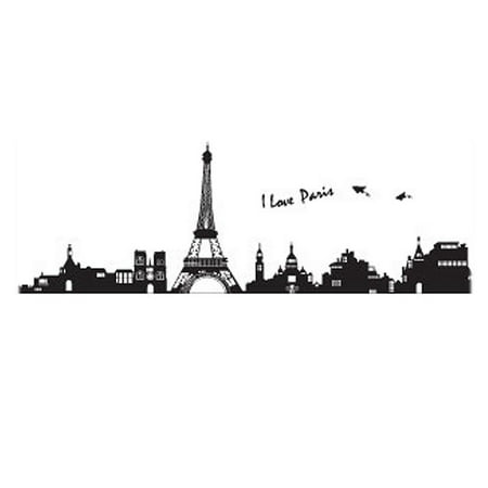 Room Decor DIY Removable PVC Paris Skyline Wall Sticker Decal 60x90cm - Paris Room Decor Ideas