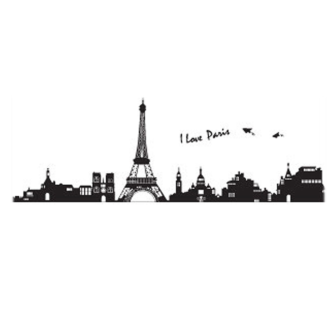 paris eiffel tower diy home room decal wall decor sticker 60x90cm
