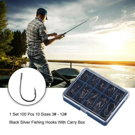 1 Set 100 Pcs 10 Sizes 3# - 12# Black Silver Fishing Hooks With Carry Box - image 13 of 13
