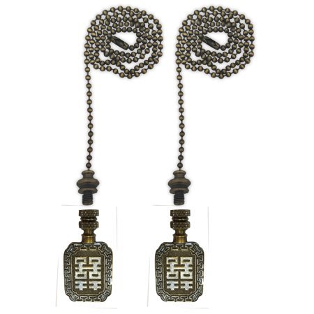 Antique Cheese - Royal Designs Fan Pull Chain with Chinese Joy Symbol Finial – Antique Brass – Set of 2