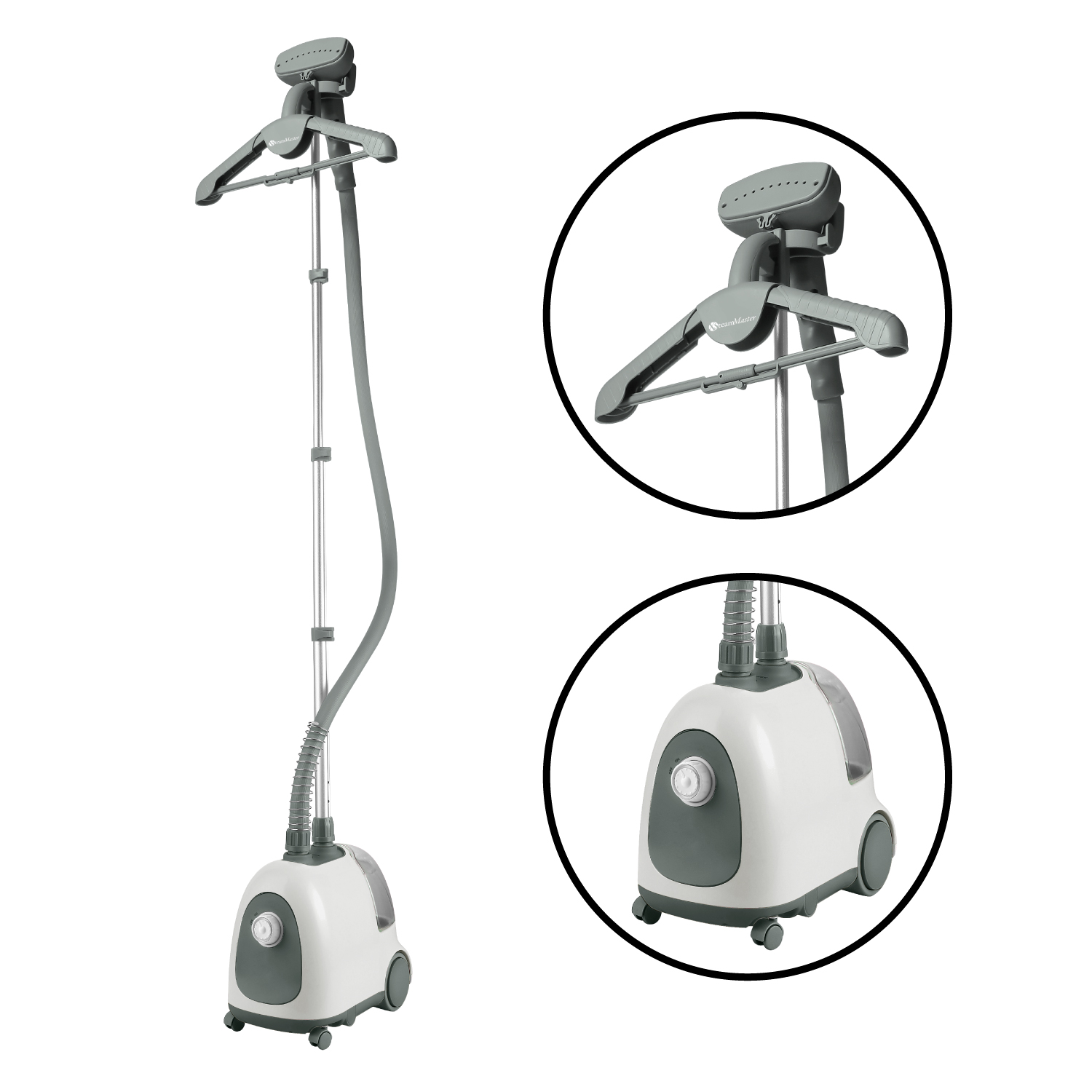 Steam and Go Professional Garment Steamer with Garment Hanger and Fabric Brush White Gray by