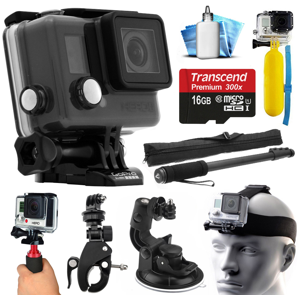 GoPro HERO+ LCD Camera Camcorder (CHDHB-101) with Action Sports Bundle includes 16GB Card + Selfie Stick Monopod + Floating Bobber + Stabilizer Grip + Car Mount + Head Strap + Dust Cleaning Kit + More