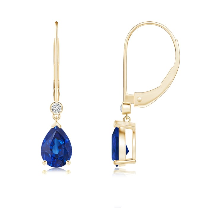 Angara Pear Shaped Sapphire Drop Earrings in White Gold
