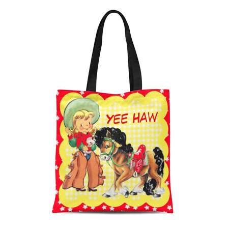 ASHLEIGH Canvas Tote Bag Yellow Western Cowgirl Kid Horse Custom Text Pony Rodeo Reusable Handbag Shoulder Grocery Shopping Bags](Custom Totes)