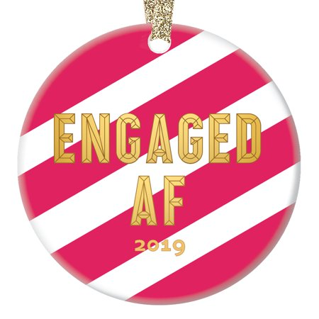 Pink & Gold Engaged AF Ornament, Funny Engagement Gifts for Couple from Bridesmaid 1st Xmas Idea Striped 3
