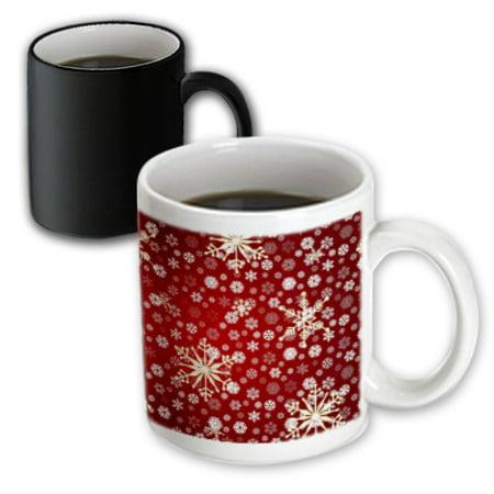 Christmas Snowflake Mug (3dRose Red and White Christmas Snowflakes - Winter Art, Magic Transforming Mug, 11oz )