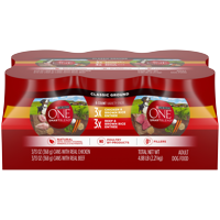Purina ONE Natural Pate Wet Dog Food Variety Pack, SmartBlend Chicken Entree & Beef Entree, 13 oz. Cans