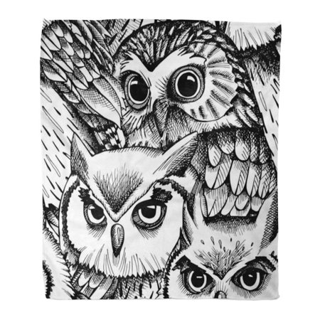 ASHLEIGH 58x80 inch Super Soft Throw Blanket Bird with Owls Black and White Graphic Vintage Abstract Beautiful Collection Home Decorative Flannel Velvet Plush Blanket