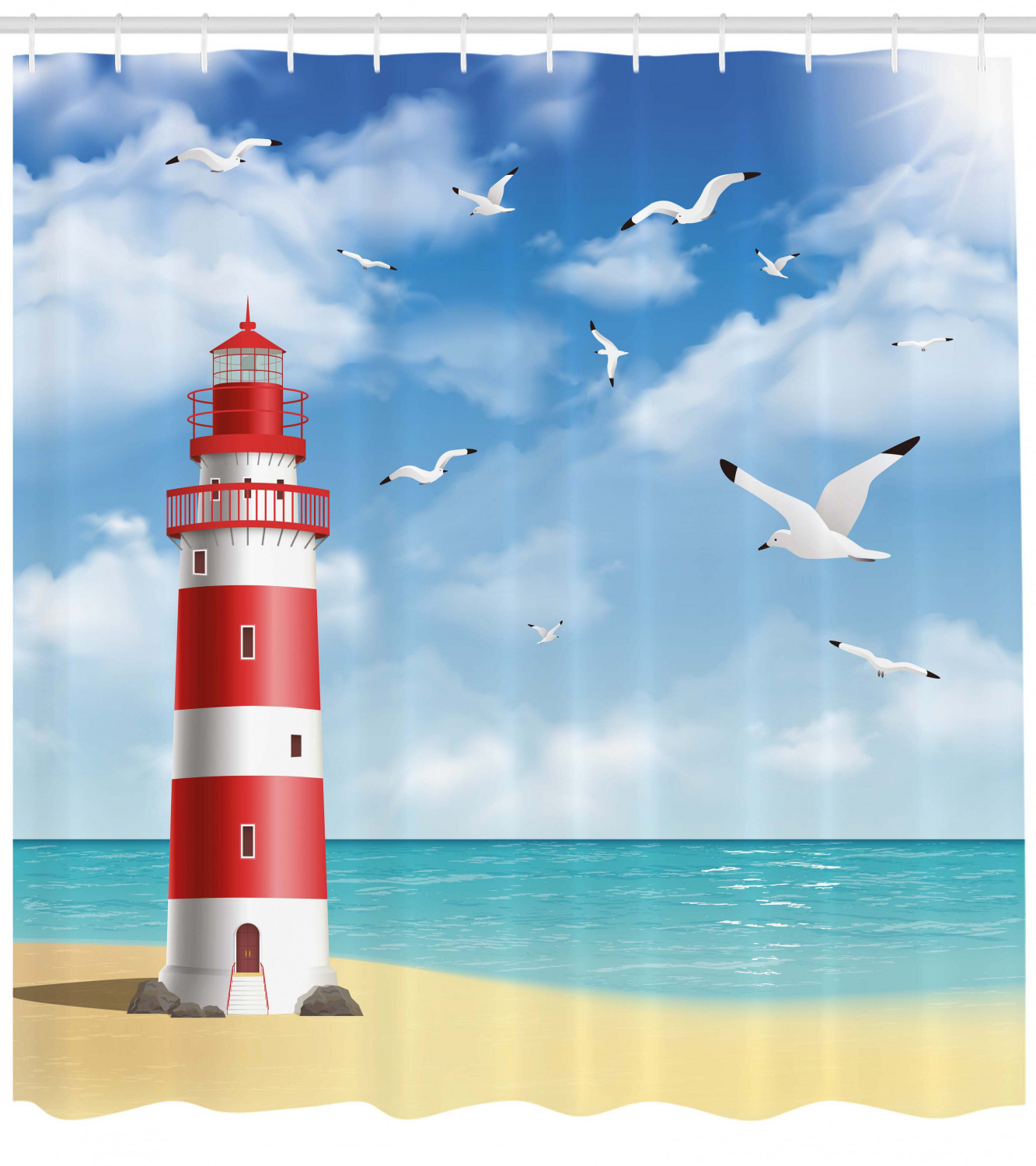 Beach Shower Curtain, Realistic Illustration Lighthouse On