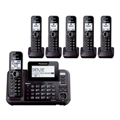 Panasonic KX-TG9546B DECT 6.0 Plus 2-Line Operation 3 Handset Cordless Phone Bluetooth LinkToCell by Panasonic