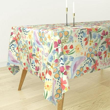Tablecloth Birds Stars Floral Flowers Jennifer Geldard Kids Spring Cotton Sateen