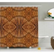 Tribal Shower Curtain Boho Bamboo Pattern Primitive Eastern Ethnic Spiritual Jagged Wood Style Artistic Print