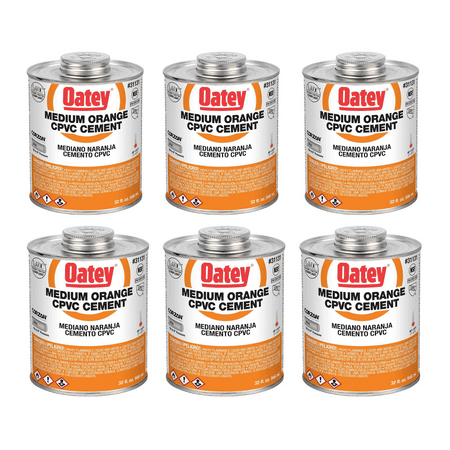 Oatey 32 Oz. CPVC Pipe Hot and Cold Systems Solvent Cement Glue, Orange (6 Pack) ()