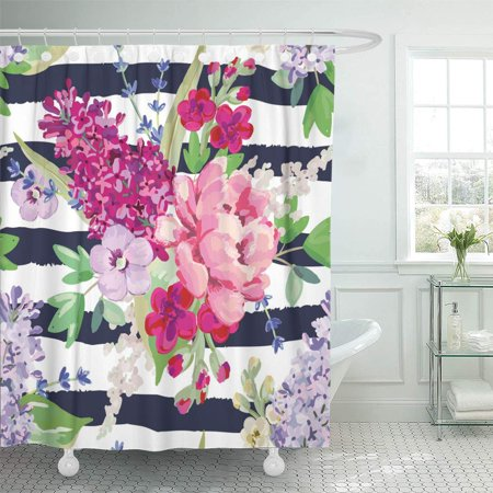 KSADK Bouquets On The Striped with Pink and Purple Flowers and Green Leaves Rose Lilac Shower Curtain 66x72 inch ()