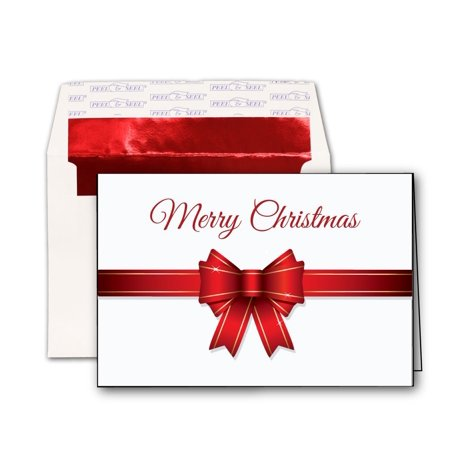 Merry Christmas Bow Holiday Cards & Red Foil Envelopes - 20 (Merry Christmas To My Best Friend Card)