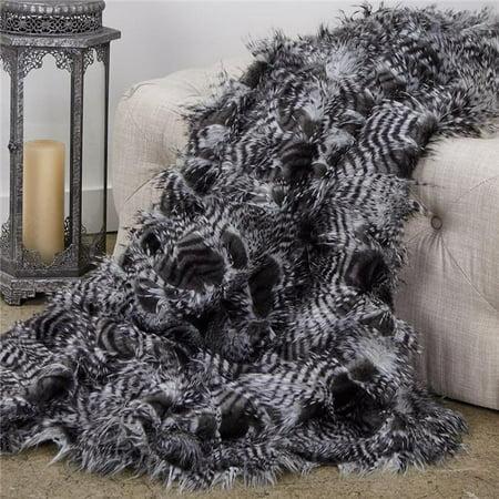 Plutus Brands PBEZ1784-3660-TC 36 x 60 in. Porcupine Black & White Faux Fur Luxury Throw - image 1 of 1