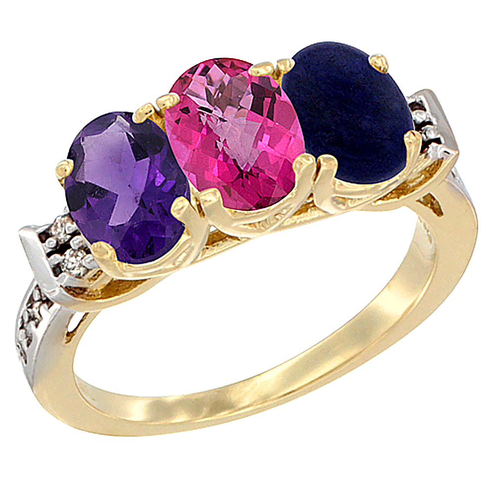 10K Yellow Gold Natural Amethyst, Pink Topaz & Lapis Ring 3-Stone Oval 7x5 mm Diamond Accent, sizes 5 10 by WorldJewels