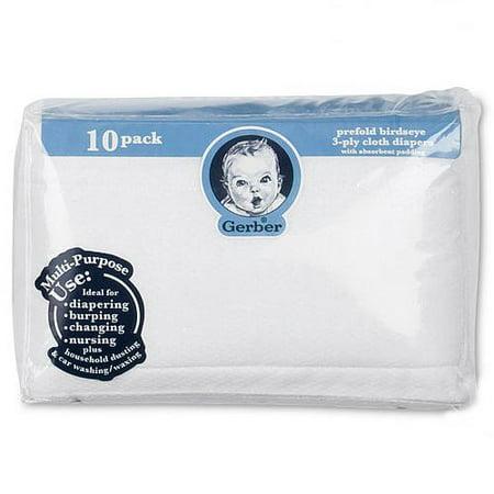 Gerber Prefold Birdseye 3-Ply Cloth Diapers - 10pk