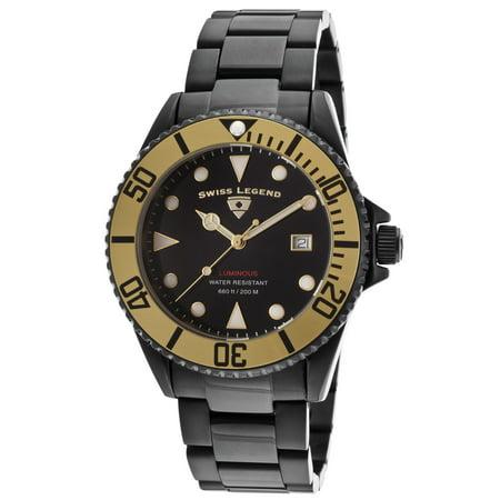 Swiss Legend 21344-Bb-11-Gb Luminous Black Ip Steel And Dial Gold-Tone Bezel 44Mm Watch