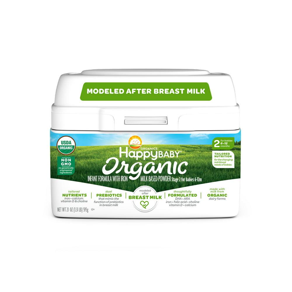 Happy Baby Organics Organic Stage 2 Milk Based Powder with Iron Infant Formula 21 oz. Tub