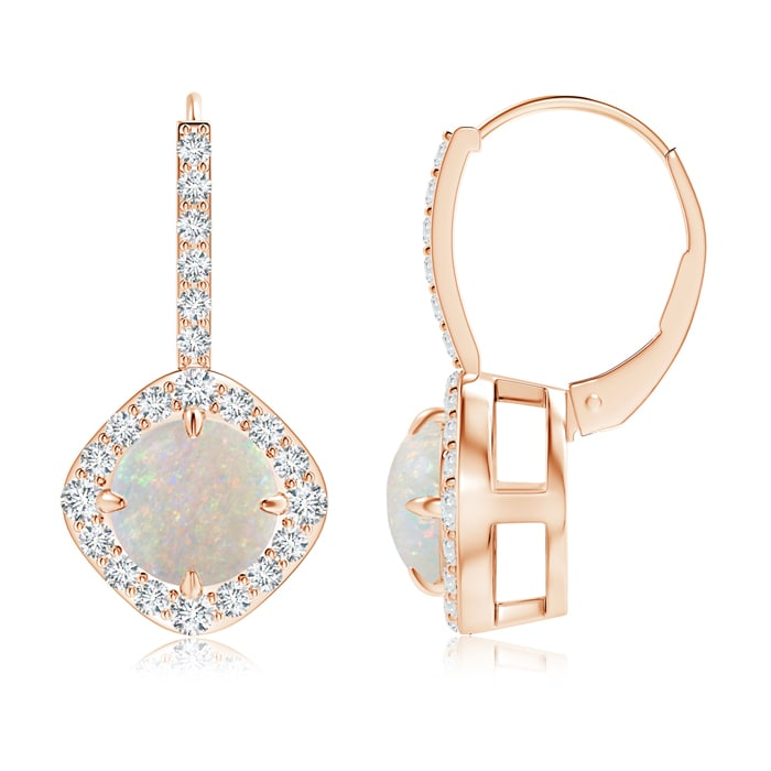 Mother's Day Jewelry 7mm Opal Claw Set Diamond Halo Opal Leverback Earrings in 14K Rose Gold SE1042OPD-RG-AA-7 by Angara.com