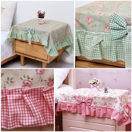 90x90cm Green Pink Polyester Bedside Table Cloth Cover Lace Flower Square Tablecloth for Wedding Party Banquet Events (Square Table Cloth Lace)