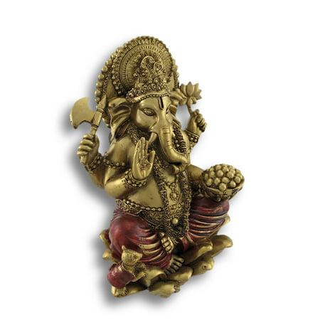 Golden Ganesha Sitting on Lotus Flower