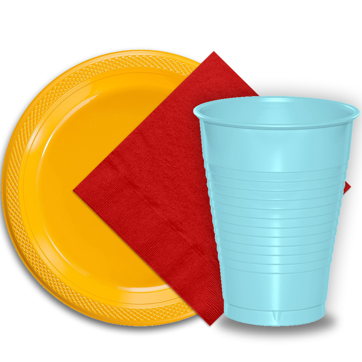 "50 Yellow Plastic Plates (9""), 50 Light Blue Plastic Cups (12 oz.), and 50 Red Paper Napkins, Dazzelling Colored Disposable Party Supplies Tableware Set for Fifty Guests."