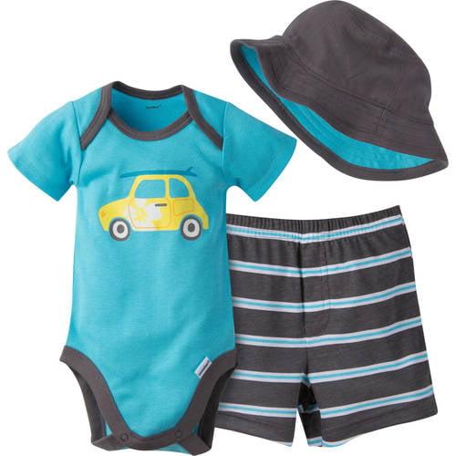 Gerber Newborn Baby Boy Bodysuit, Short and Hat Outfit Set,  3-Piece