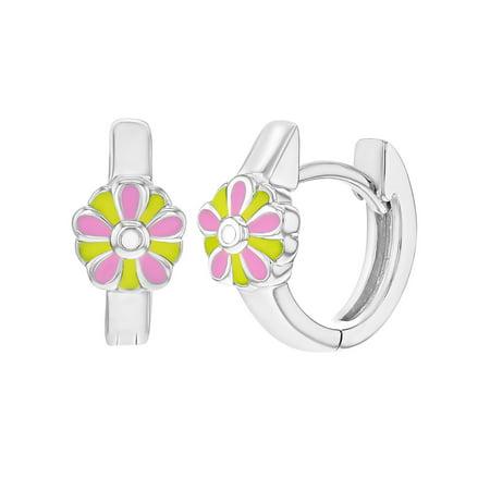 925 Sterling Silver Pink Yellow Enamel Flower Huggie Hoop Earrings Girls 0.47