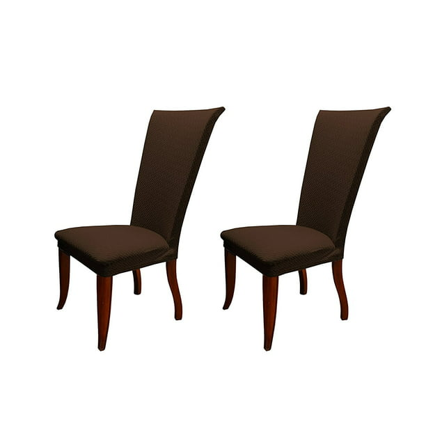 Linen Store Basket Weave Texture Dining Chair Cover Stretch Form Fitting Fabric Parson Chair Slipcover Set Of 2 Brown Walmart Com Walmart Com