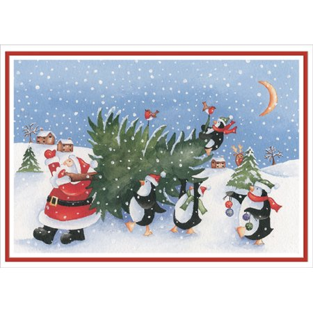 Designer Greetings Santa and Penguins Carrying Tree Box of 18 Cute Christmas Cards ()