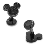 Disney Stainless Steel Black Pave Crystal Mickey Mouse Cufflinks