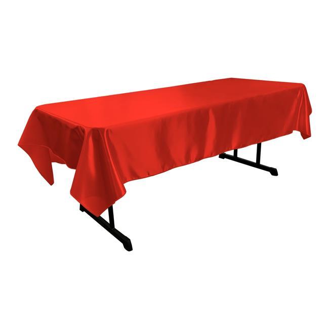 LA Linen TCbridal60X84-RedB98 Bridal Satin Rectangular Tablecloth, Red 60 x 84 in. by