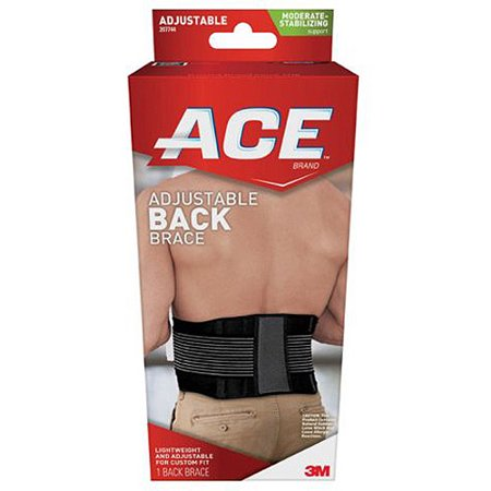 ACE Moderate-Stabilizing Support Adjustable Back Brace, Black/Gray, 1/pack