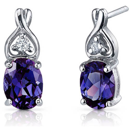 Oravo 3.50 Carat T.G.W. Oval-Cut Simulated Alexandrite CZ Rhodium over Sterling Silver Drop Earrings