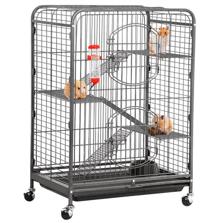 "37"" Metal Ferret Cage for large Rat Guinea Pig Chinchilla Hamster Sugar Glider,Black"