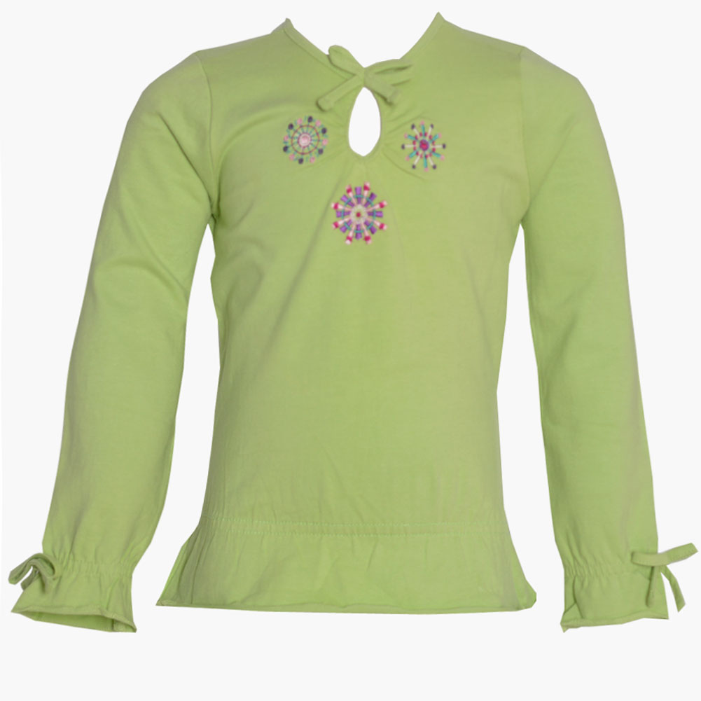 No Fuze Little Girls Green Floral Teardrop Keyhole Long Sleeve Shirt 2T-6X