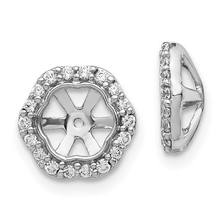14K White Gold Diamond Round Earring Jackets 5.00 mm Opening for Stud Earrings (Opening Stand)