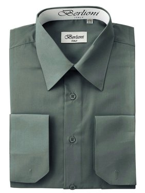 22fca7e44ce6 Product Image Berlioni Italy Men's Convertible Cuff Solid Dress Shirt  Charcoal