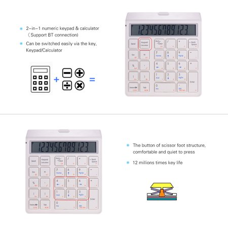 Portable 2-in-1 Wireless BT 28 Keys Rechargeable Smart Numeric