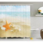 Starfish Decor Shower Curtain Tropical Caribbean Seacoast With Different Shells Animals Relaxing Vacation Fabric